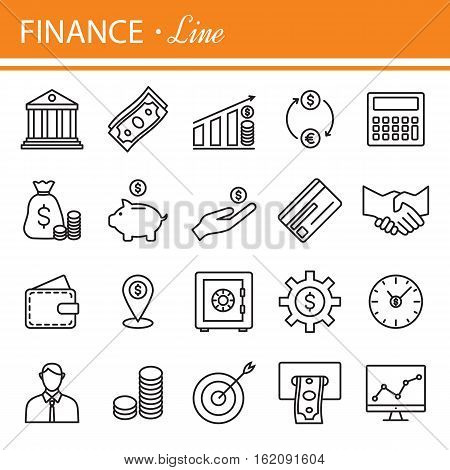 Thin line icons set. Icons for business, management, finance, strategy, planning, analytics, banking. Business icons for internet marketing and services