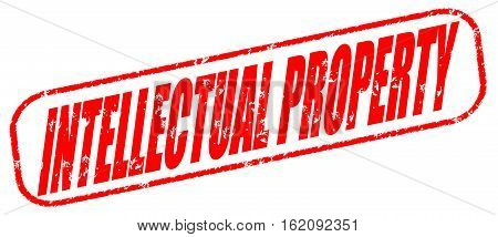 Intellectual property on the white background, red illustration