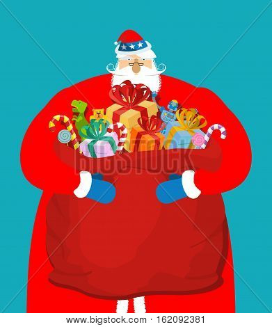 Santa Uncle Sam. American Christmas Claus. Patriotic Grandfather White Beard. Us National New Year H