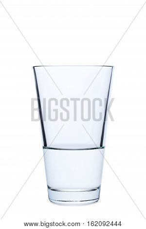 Empty glass isolated on a white, close up
