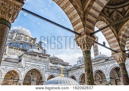A view of the beyazıt camii mosque in the turkish city of Istanbul