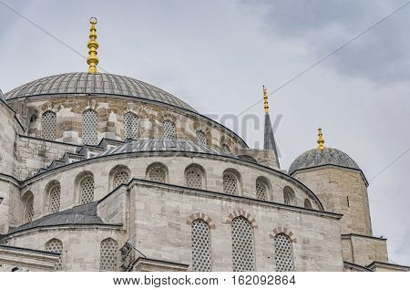 A close up view of the blue mosque in the turkish city of Istanbul