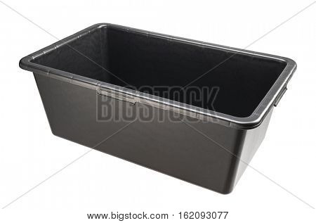 Rectangular heavy duty black plastic basin for construction works. Isolated on white.
