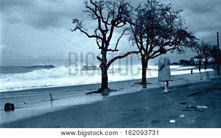 Adler Russia - October 1971: Storm on Black Sea near Southern Culture Park.