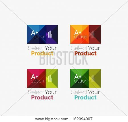 Set of color translucent squares abstract background templates or infographics with place for your content