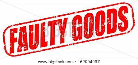 Faulty goods on the white background, red illustration
