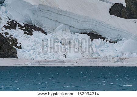 Collapsed Chunks of Ice Along Shore of Iceberg Lake