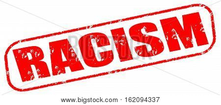 Racism on the white background, red illustration