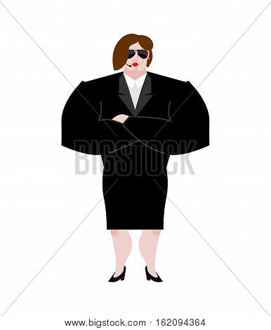Female Bodyguard. Strong Woman Guard At  Nightclub. Black Suit And Hands-free. Lady Security On Whit