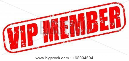 Vip member on the white background, red illustration