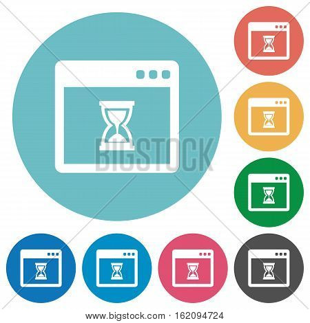 Waiting application flat white icons on round color backgrounds