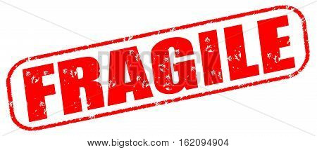 Fragile on the white background, red illustration