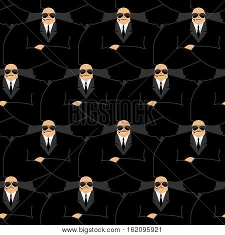 Bodyguard Pattern. Strong Guard At Nightclub. Black Suit And Hands-free. Security Man Ornament. Prot