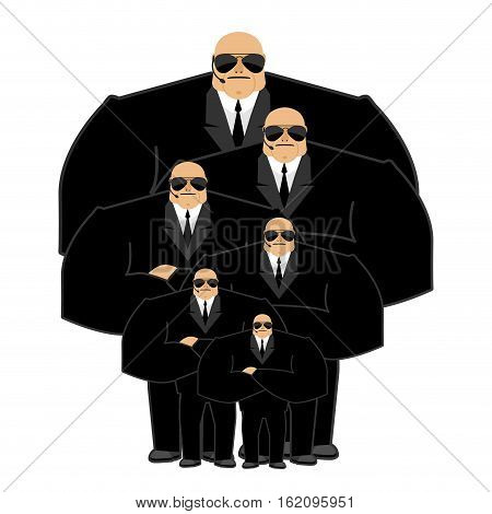 Bodyguard Family. Black Suit And Hands-free. Security Man. Protection And Professional Teamwork. Str