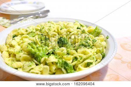 Orecchiette Cime di Rapa traditional pasta recipe from Apulia region Italy