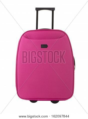 Pink Travel suitcase on a white background