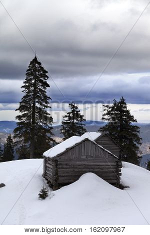 Old wooden hut in winter snow mountains and gray sky with clouds. Ukraine Carpathian Mountains.
