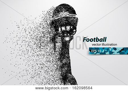 silhouette of a football helmet and hand from particles. Background and text on a separate layer, color can be changed in one click. Rugby. American football