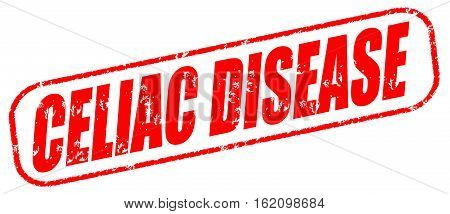Celiac disease on the white background, red illustration