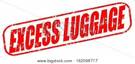 Excess luggage on the white background, red illustration