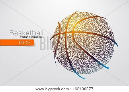 Silhouette of a basketball ball from triangles. Background and text on a separate layer, color can be changed in one click