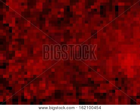 Abstract dark red squares pixelated background. Red squares.