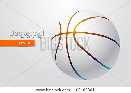 Silhouette of a basketball ball. Background and text on a separate layer, color can be changed in one click