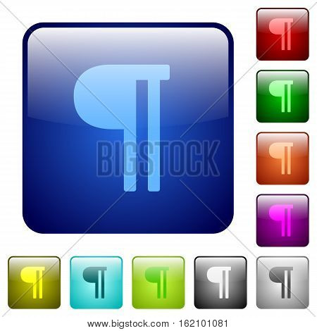 Text paragraph icons in rounded square color glossy button set