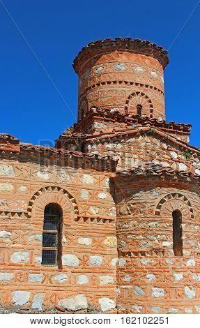 Nice view of Panagia Koumbelidiki church in Kastoria, Greece