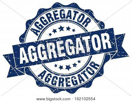 aggregator. stamp. sign. seal. round. retro. ribbon