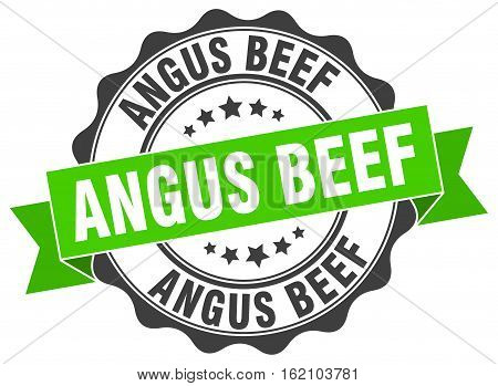 angus beef. stamp. sign. seal. round. retro. ribbon