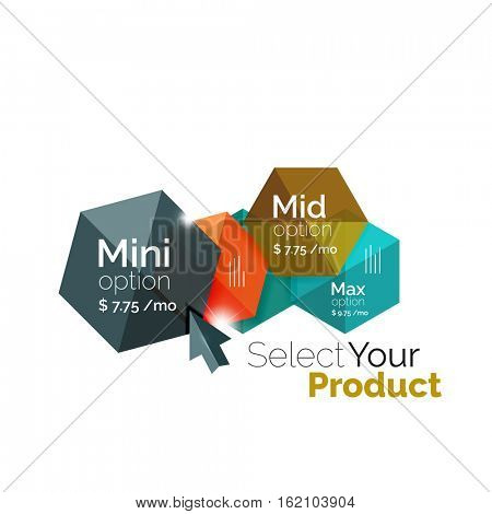 Option select template. Vector background for business brochure or flyer, presentation and web design navigation layout