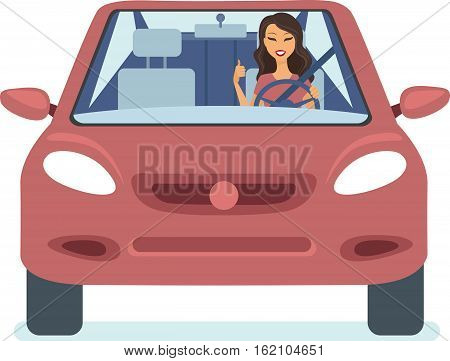 Young happy woman driving car flat vector