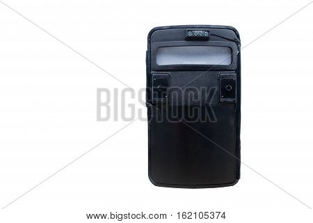 black tactical ballistic shield with flash light for S.W.A.T or law enforcement attack team isolated on white background with copy space