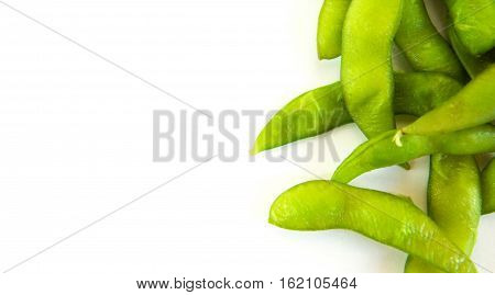 green soy beans and soya beans japanese food - on white background