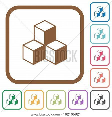 Cubes simple icons in color rounded square frames on white background
