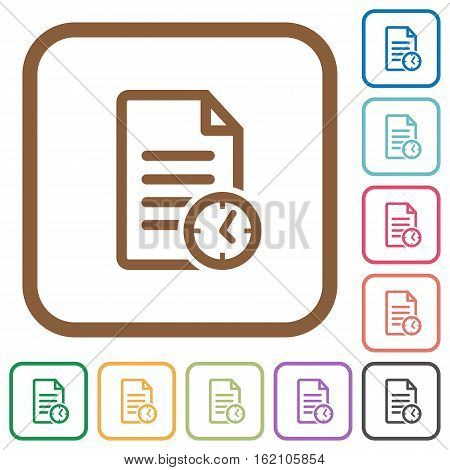 Document modified time simple icons in color rounded square frames on white background