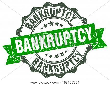 bankruptcy. stamp. sign. seal. round. retro. ribbon