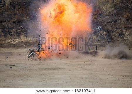 fire and movement of car part blown away from explosion in post blast investigation course training