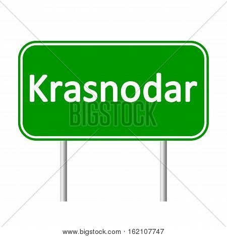 Krasnodar road sign isolated on white background.