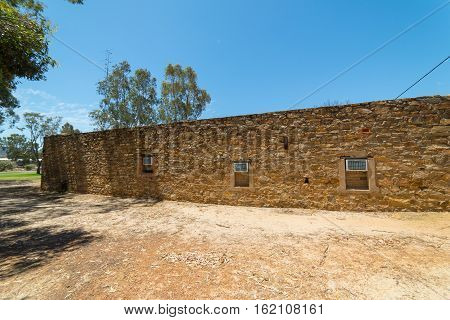 Old brick wall of the city York . York is the oldest inland town in Western Australia .