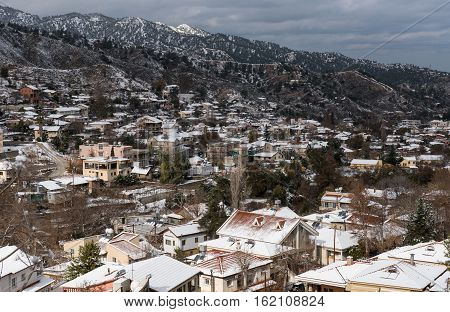 Winter mountain landscape with snow at the village of Kakopetria at Troodos Mountain range in Cyprus.