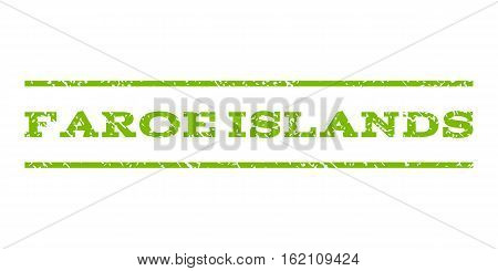 Faroe Islands watermark stamp. Text caption between horizontal parallel lines with grunge design style. Rubber seal stamp with dust texture. Vector eco green color ink imprint on a white background.