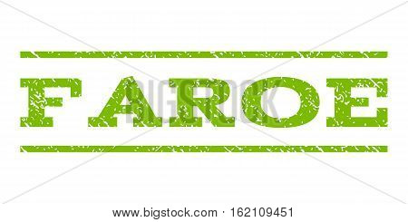 Faroe watermark stamp. Text caption between horizontal parallel lines with grunge design style. Rubber seal stamp with scratched texture. Vector eco green color ink imprint on a white background.