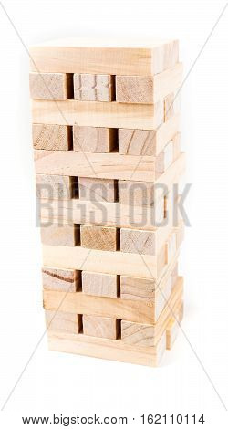 Tower Of Wooden Game Pieces Isolated On White Background