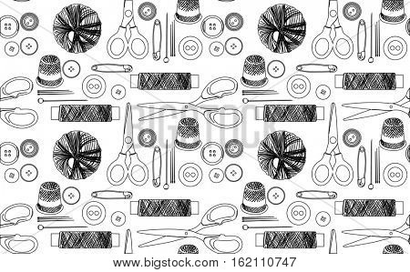 illustration with sewing items seamless background