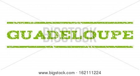 Guadeloupe watermark stamp. Text tag between horizontal parallel lines with grunge design style. Rubber seal stamp with unclean texture. Vector eco green color ink imprint on a white background.
