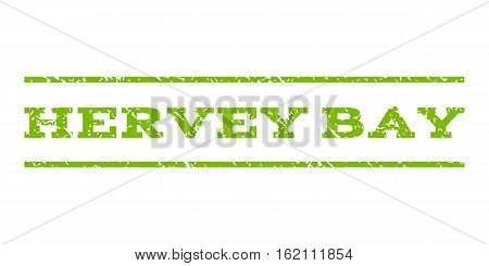 Hervey Bay watermark stamp. Text tag between horizontal parallel lines with grunge design style. Rubber seal stamp with unclean texture. Vector eco green color ink imprint on a white background.