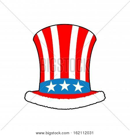 Patriotic Santa Claus Cap. Winter Hat Uncle Sam. Christmas Cylinder Hat And Fur.