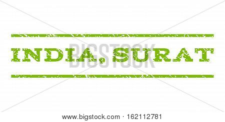 India, Surat watermark stamp. Text tag between horizontal parallel lines with grunge design style. Rubber seal stamp with dirty texture. Vector eco green color ink imprint on a white background.